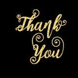Золотые слова яркого блеска спасибо на черной предпосылке, шаблоне бесплатная иллюстрация