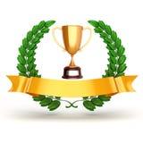 золотые трофей 3d и лавр бесплатная иллюстрация