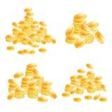 Золотые установленные монетки изолированными на белой предпосылке бесплатная иллюстрация