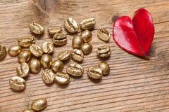 Золотые фасоли кофе Стоковое Изображение