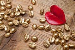 Золотые фасоли кофе Стоковые Фото