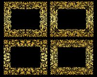 Золотые флористические рамки на черной предпосылке Стоковые Фотографии RF