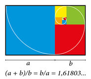 Золотые цвета формулы спирали отрезка Стоковая Фотография
