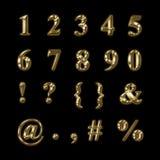 Золотые числа, пунктуация и символы Стоковое Изображение