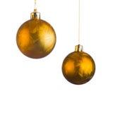 Золотые шарики рождества Стоковые Изображения