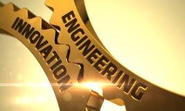 Золотые шестерни с концепцией нововведения инженерства 3d Стоковые Изображения RF