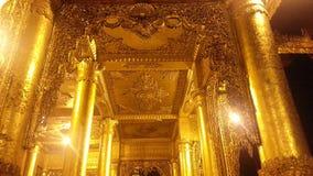 Золотые штендеры на пагоде Shwedagon Стоковые Изображения RF