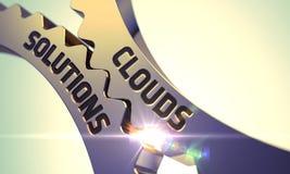 Золотые Cogwheels с концепцией решений облаков 3d Стоковые Фотографии RF