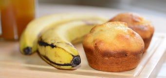 2 золотых булочки меда и банана Стоковые Фотографии RF