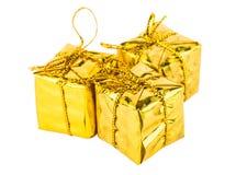3 золотых картонной коробки на белизне Стоковое Изображение