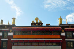 2 золотых оленя фланкируя Dharma катят на висок Ramoche Стоковая Фотография RF
