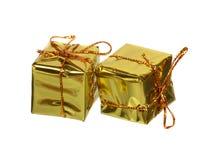 2 золотых подарка Стоковые Фотографии RF