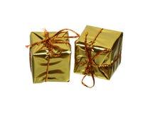 2 золотых подарочной коробки Стоковые Изображения