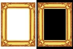 2 золотых рамки изолированной на черно-белом Стоковая Фотография