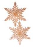2 золотых снежинки Стоковые Изображения