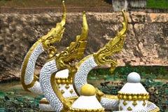 Золот-белая скульптура Naga на пруде в Вьентьян, Лаосе Стоковые Фотографии RF