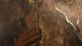 Зрелая ветчина Nuodeng оно было посолено 3 леты и высушенного на воздухе совершенно Еда традиционного китайския стоковые изображения rf