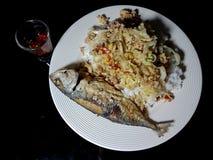Зрелая зажаренная скумбрия на белом керамическом блюде с рисом и Стоковое Изображение