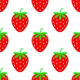Зрелая ягода клубника на белой предпосылке, яркой картине r Безшовная картина клубники иллюстрация вектора