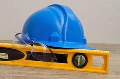Зрелища защитного шлема, уровня и безопасности Стоковое фото RF