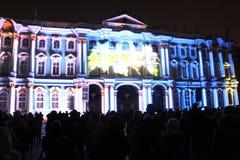 Зрелище проекции 3D-mapping команды студии Luca Agnani на фестивале Light-2017 в Санкт-Петербурге в России стоковые изображения rf