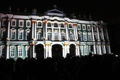 Зрелище проекции 3D-mapping команды студии Luca Agnani на фестивале Light-2017 в Санкт-Петербурге в России стоковое изображение