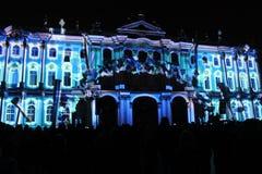 Зрелище проекции 3D-mapping команды студии Luca Agnani на фестивале Light-2017 в Санкт-Петербурге в России стоковая фотография rf