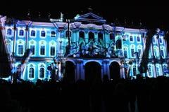 Зрелище проекции 3D-mapping команды студии Luca Agnani на фестивале Light-2017 в Санкт-Петербурге в России стоковое фото