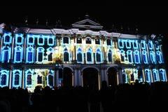 Зрелище проекции 3D-mapping команды студии Luca Agnani на фестивале Light-2017 в Санкт-Петербурге в России стоковое фото rf
