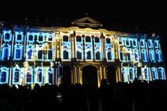 Зрелище проекции 3D-mapping команды студии Luca Agnani на фестивале Light-2017 в Санкт-Петербурге в России стоковые фотографии rf