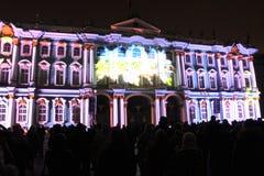 Зрелище проекции 3D-mapping команды студии Luca Agnani на фестивале Light-2017 в Санкт-Петербурге в России стоковая фотография