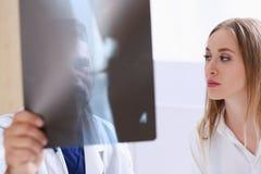 Зрелое мужское владение доктора в руке и взгляд на фотографии рентгеновского снимка Стоковое фото RF