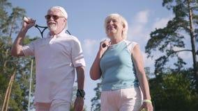 Зрелые пары в солнечных очках и ракетках тенниса стоя на теннисном корте в солнце Воссоздание и отдых outdoors сток-видео