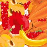 Зрелые плодоовощи с предпосылкой овоща и ягоды красочной Стоковое Изображение RF