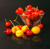 Зрелые свежие абрикосы и вишни в прозрачной стеклянной вазе на темной предпосылке Стоковые Изображения