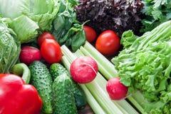 Зрелые томаты, перцы, редиска и салат на таблице для варить вегетарианскую еду стоковые изображения
