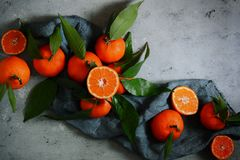 Зрелые tangerines на серой предпосылке План плодоовощ Цитрус Стоковое Фото