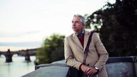 Зрелый бизнесмен с рекой Влтавой чемодана готовя в городе Праги видеоматериал