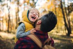 Зрелый отец держа сына малыша в лесе осени, имеющ потеху стоковые изображения