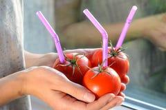 3 зрелых красных томата с соломами в руках Стоковая Фотография RF