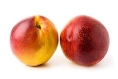 2 зрелых персика на изолированной белизне, Стоковые Фотографии RF
