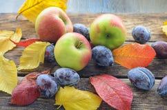 3 зрелых яблока лежат на деревянном столе среди упаденной осени листья желтых и красного цвета Стоковая Фотография