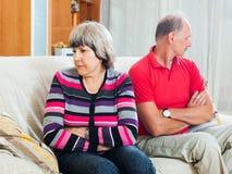 Зрелая женщина имея проблемы с человеком Стоковая Фотография