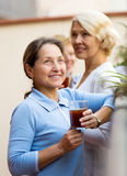 Зрелая женщина на балконе Стоковые Фотографии RF
