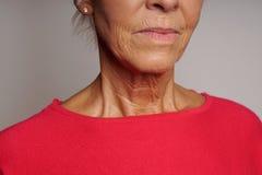 Зрелая женщина с морщинками стоковое изображение rf