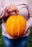 Зрелая, органическая, оранжевая тыква в руках падение дня солнечное Yo Стоковое Фото