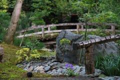 Зрелище старого деревянного моста и зеленого цвета выходит в японский сад Стоковое Изображение RF