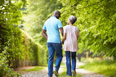 Зрелые Афро-американские пары идя в сельскую местность Стоковое фото RF