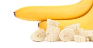 Зрелые бананы и часть изолированные на белизне Стоковое фото RF