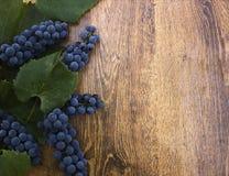 Зрелые голубые виноградины с зелеными листьями на деревянном крупном плане предпосылки Стоковое Фото